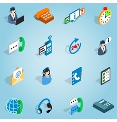 Call center set icons isometric 3d style vector image vector image