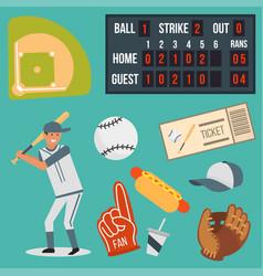 cartoon baseball player icons batting vector image