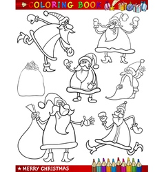 cartoon christmas themes for coloring book vector image