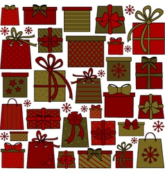 christmas presents collection vector image vector image