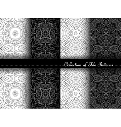 Collection of Black and White Seamless Pattern vector image vector image