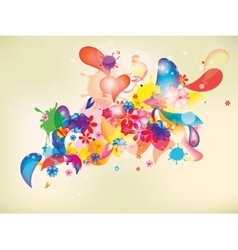 colorful floral composition with flowers and vector image