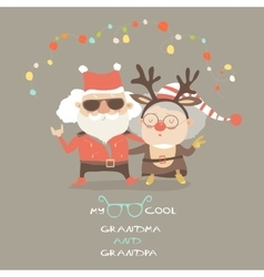 Cool grandma with grandpa as santa claus and vector