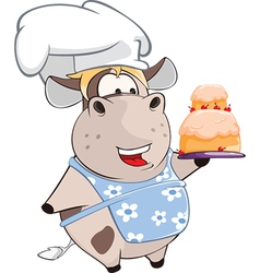 Cute Cow Chief Cook Cartoon vector image vector image