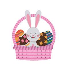 Cute easter bunny basket egg celebration party vector