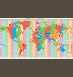 detailed world map with time zones vector image vector image