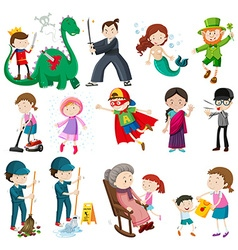 Different characters doing activities vector image