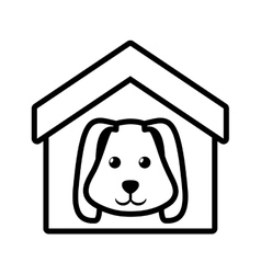 Dog animal pet ear long house pet outline vector