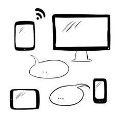 Doodle electronic devices vector