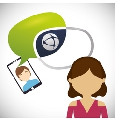 Female avatar chat smartphone man bubble vector