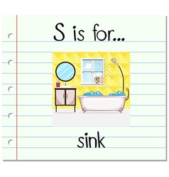 Flashcard letter s is for sink vector