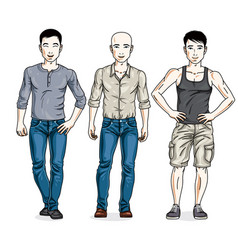 Happy men posing wearing casual clothes people vector