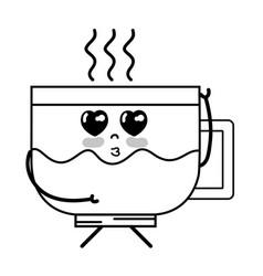 line kawaii cute tender coffee cup vector image vector image