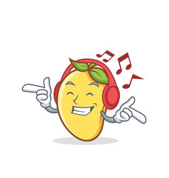 Listening music mango character cartoon mascot vector