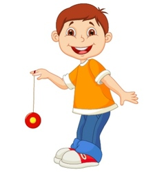 Little boy cartoon playing yo yo vector image