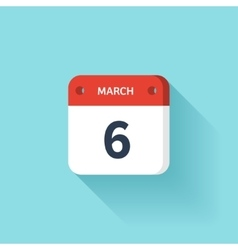 March 6 isometric calendar icon with shadow vector