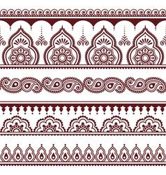 Mehndi Indian Henna tattoo brown seamless pattern vector image vector image