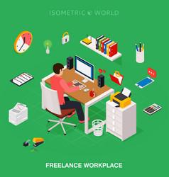 professional freelancer working on desktop vector image vector image
