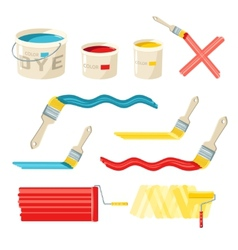 Roller And Paint Brushes vector image vector image