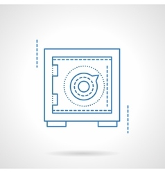 Safety deposit box blue flat line icon vector image