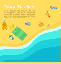 Sea rest concept beach cartoon style vector