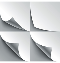 Set of curled white paper page corners with vector image