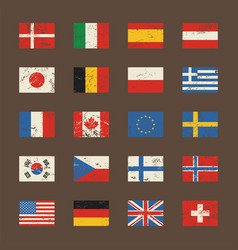 Set of world flags in grunge style vector