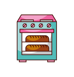 stove oven with two hot bread icon vector image