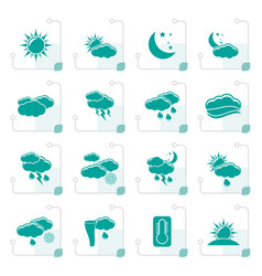 stylized weather and meteorology icons vector image vector image