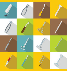 Surgeons tools icons set flat style vector