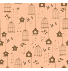 Vintage bird house seamless vector