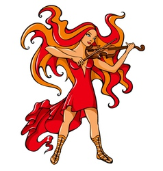 Violinist girl vector image vector image