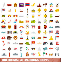 100 tourist attractions icons set flat style vector image vector image