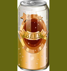 Fresh beer in tall can vector