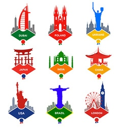 Set of stickers in different countries vector image