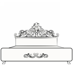 Royal bed with damask ornaments vector