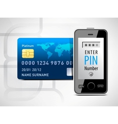 Mobile phone and credit card vector image