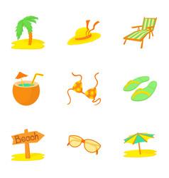 Journey to sea icons set cartoon style vector