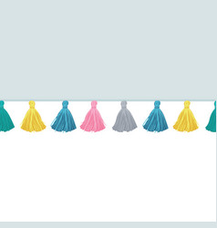 colorful decorative tassels on fabric vector image