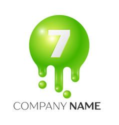 number seven splash logo vector image