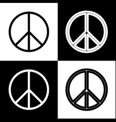 Peace sign   black and white vector