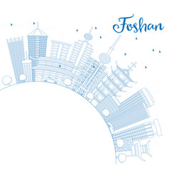 Outline foshan skyline with blue buildings and vector