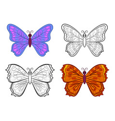 Butterflies contour and colorful vector