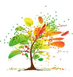Art autumn tree vector