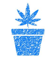 cannabis pot grunge icon vector image