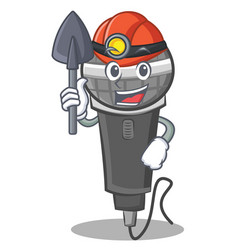 Miner microphone cartoon character design vector