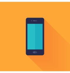 Flat mobile phone over orange vector