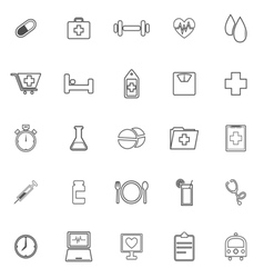 Health line icons on white background vector