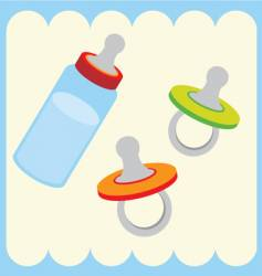 Baby bottle and dummy vector