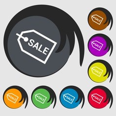 Sale icon sign symbol on eight colored buttons vector